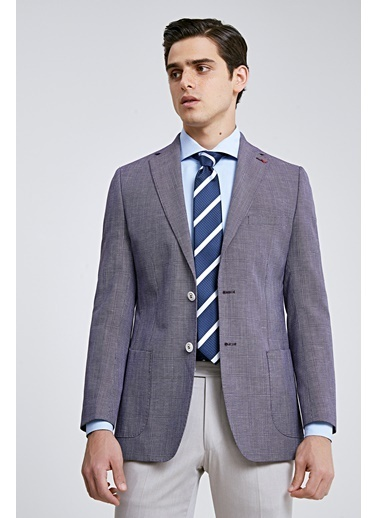 D'S Damat Slim Fit Kareli Kumaş Ceket Mor